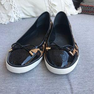 Tory Burch Ocelot Leopard Flat Sneakers Size 11